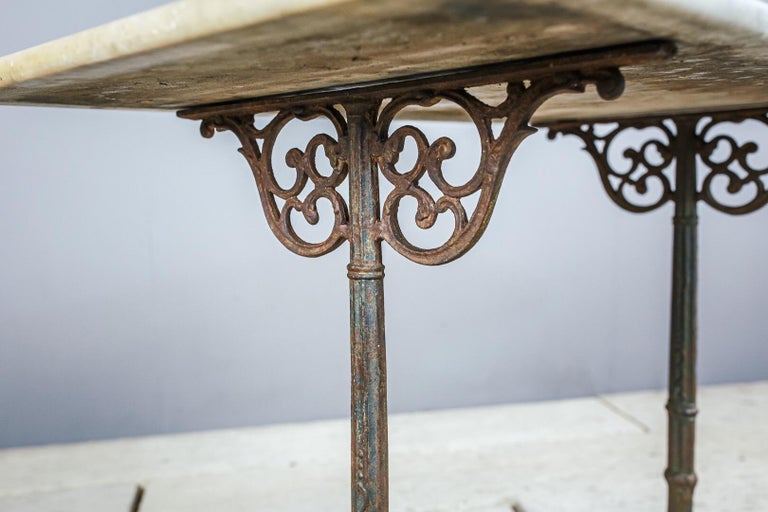 Early 20th Century Marble and Cast Iron Bistro Table For Sale 1
