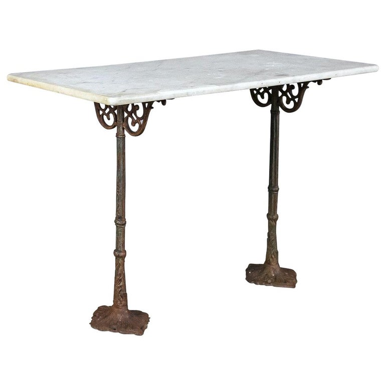 Early 20th Century Marble and Cast Iron Bistro Table For Sale