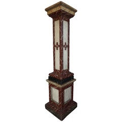 Early 20th Century Marble Painted Wooden Sculpture Stand / Newel Post Column