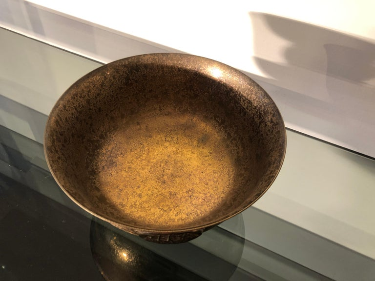 American Early 20th Century Marked L.C. Tiffany Rounded Copper Bowl or Valet Tray For Sale