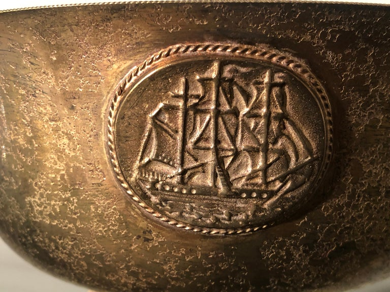 Early 20th Century Marked L.C. Tiffany Rounded Copper Bowl or Valet Tray For Sale 1