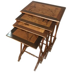 Early 20th Century Marquestry Art Nouveau Nesting Tables, 1900s