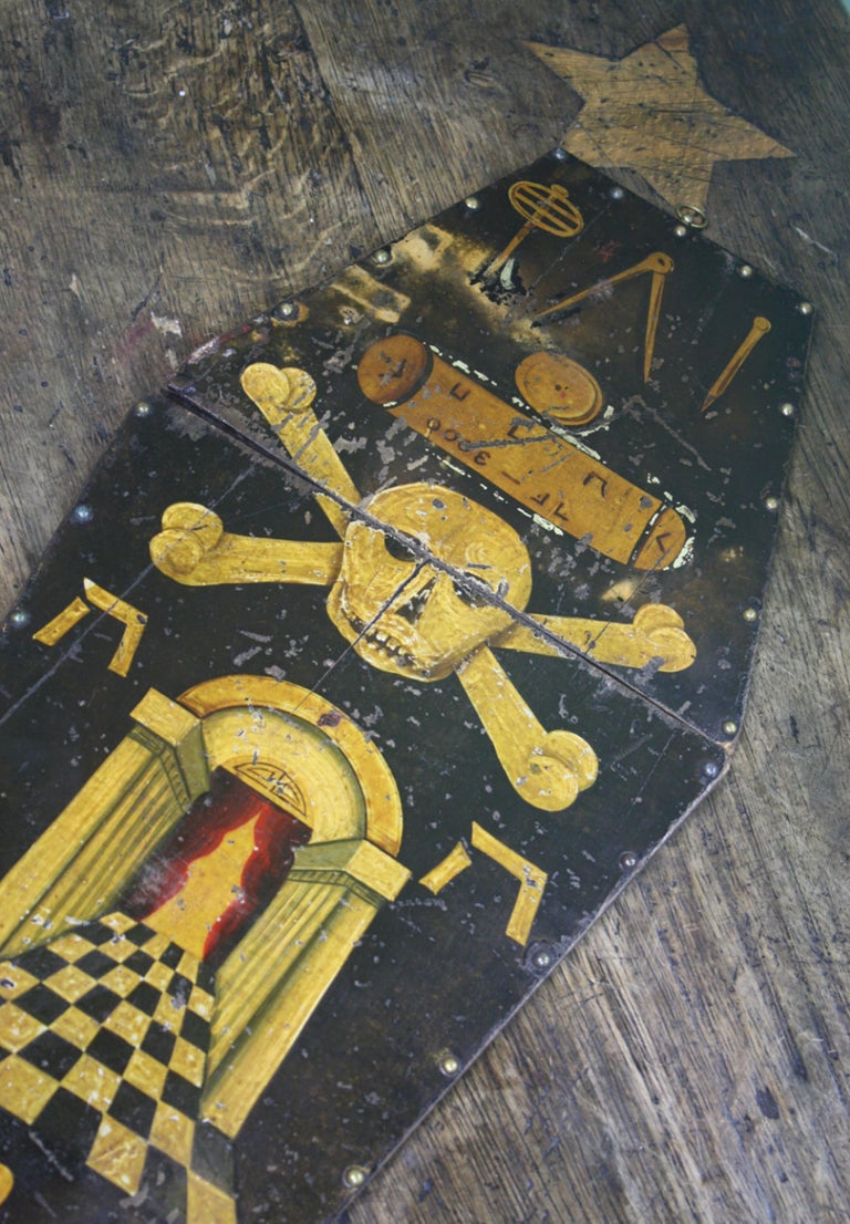 English Early 20th Century Masonic Freemasons Tracing Board Coffin Oil on Panel For Sale