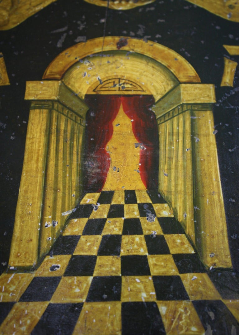 Early 20th Century Masonic Freemasons Tracing Board Coffin Oil on Panel For Sale 1