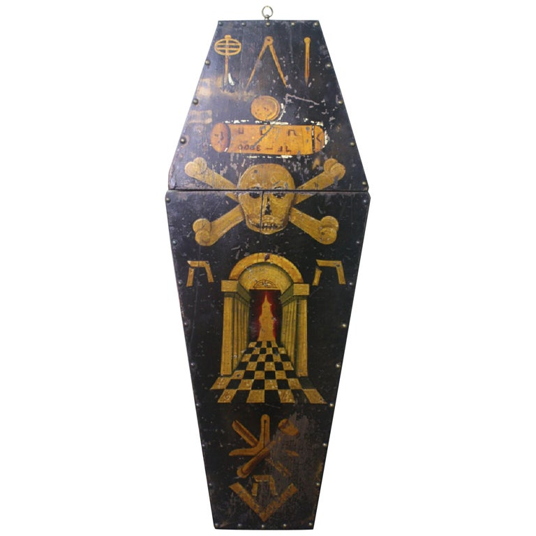 Early 20th Century Masonic Freemasons Tracing Board Coffin Oil on Panel For Sale