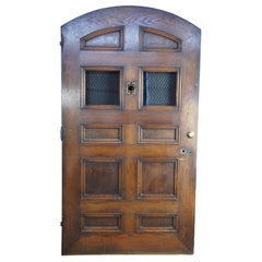 Early 20th Century Massive Solid Oak Reclaimed Panel Door Arched Spanish