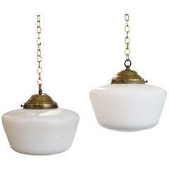 Early 20th Century Matte Opaline Glass Ceiling Pendant Light