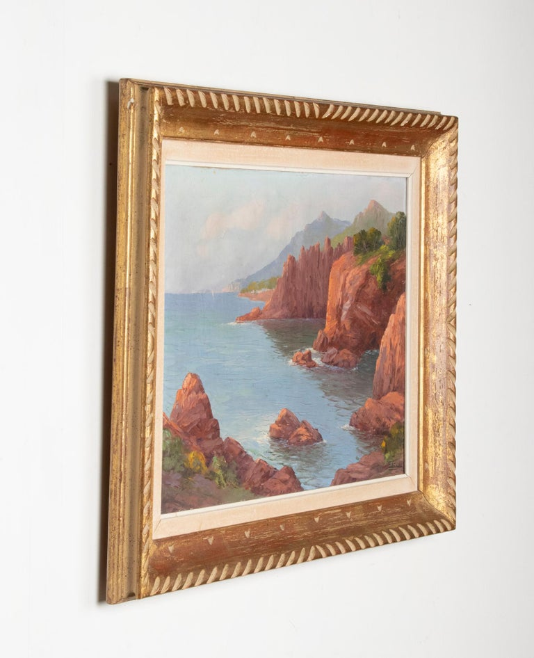 Early 20th Century Mediterranean Coastal Landscape Painting by Clément Boyer For Sale 9
