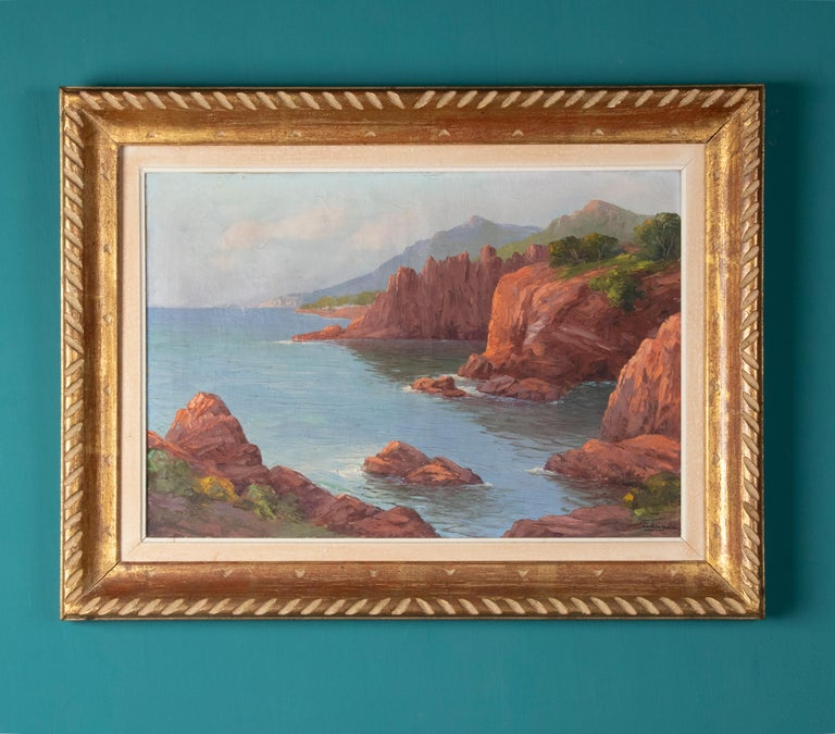 This painting shows a Mediterranean coastal landscape from the French region of Provence on the Cote d'azur. The red rocks that you see in this painting are characteristic of the region. The paint is applied thickly, this provides extra depth in the