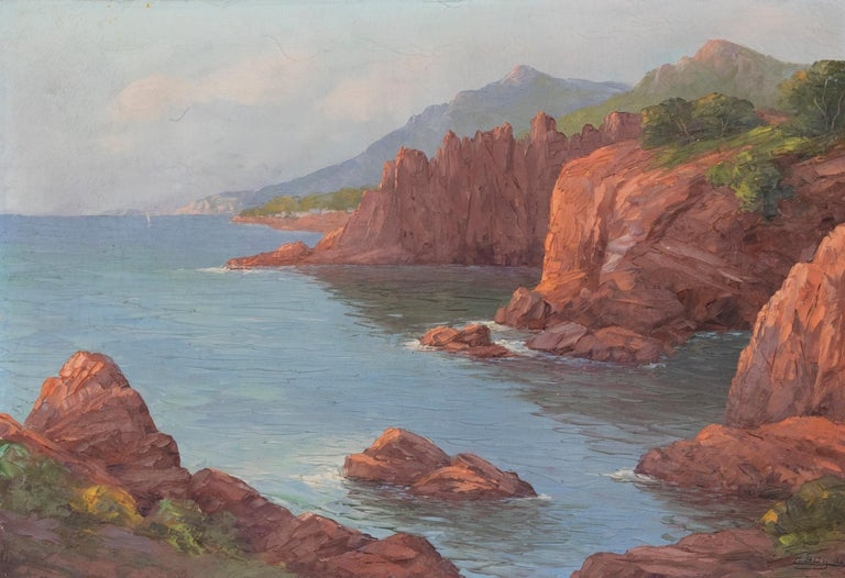 Beaux Arts Early 20th Century Mediterranean Coastal Landscape Painting by Clément Boyer For Sale