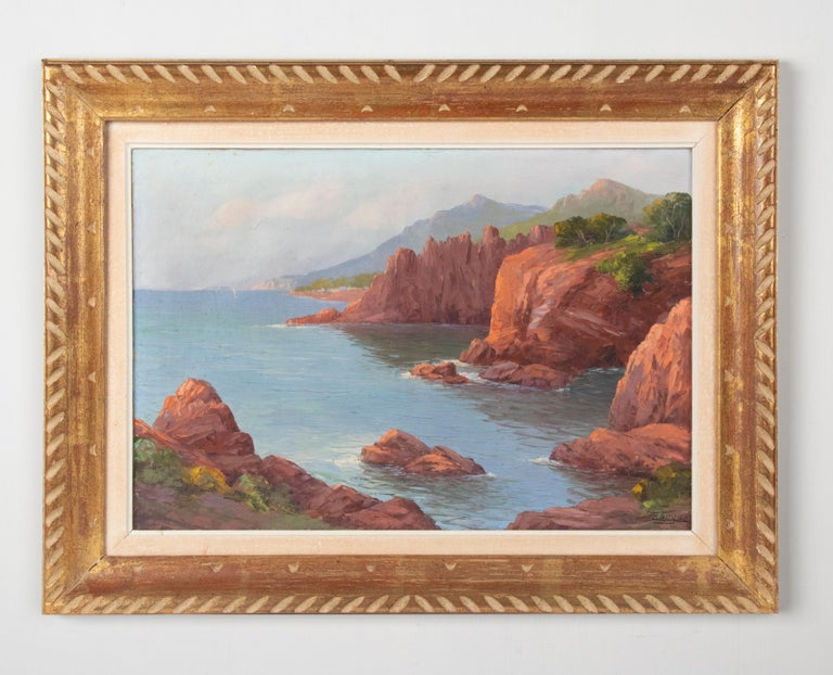 French Early 20th Century Mediterranean Coastal Landscape Painting by Clément Boyer For Sale