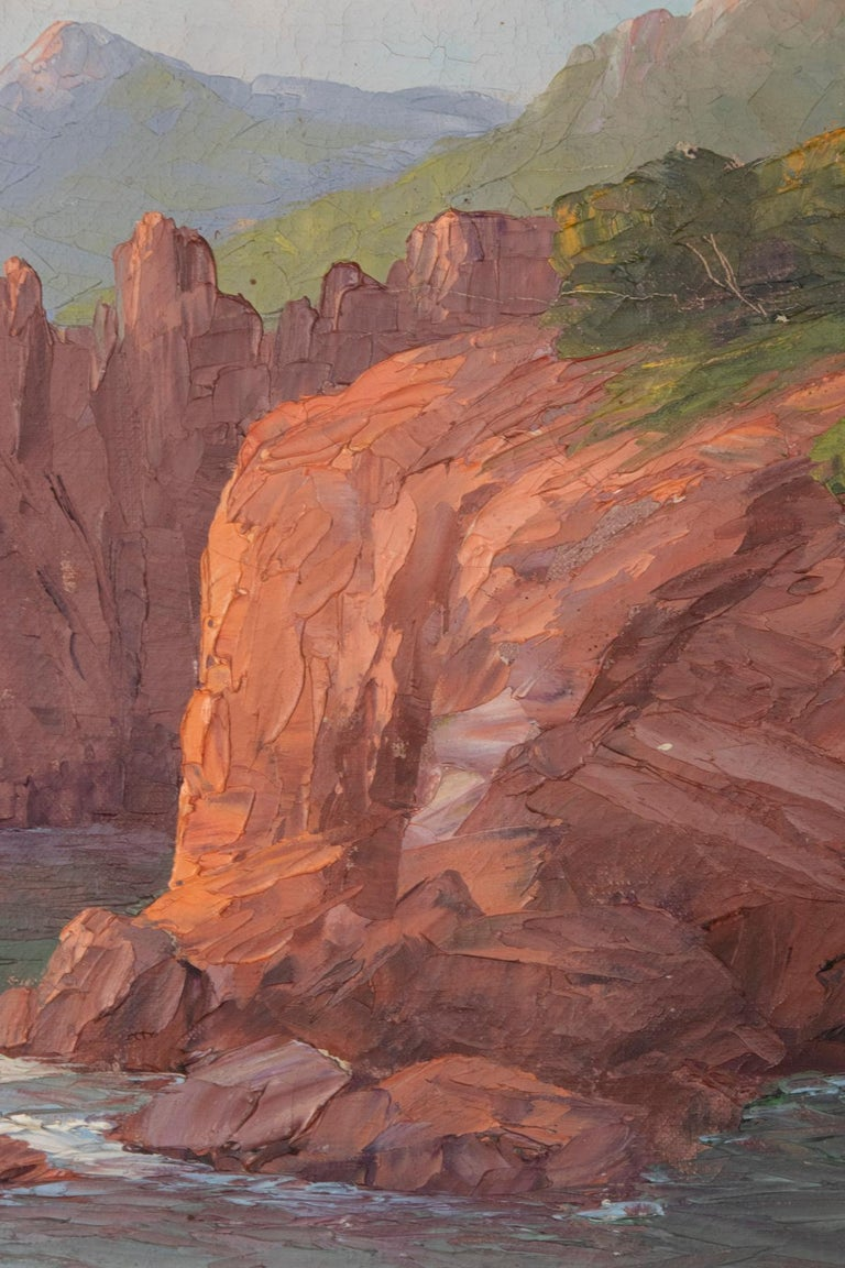 Early 20th Century Mediterranean Coastal Landscape Painting by Clément Boyer In Good Condition For Sale In Casteren, Noord-Brabant