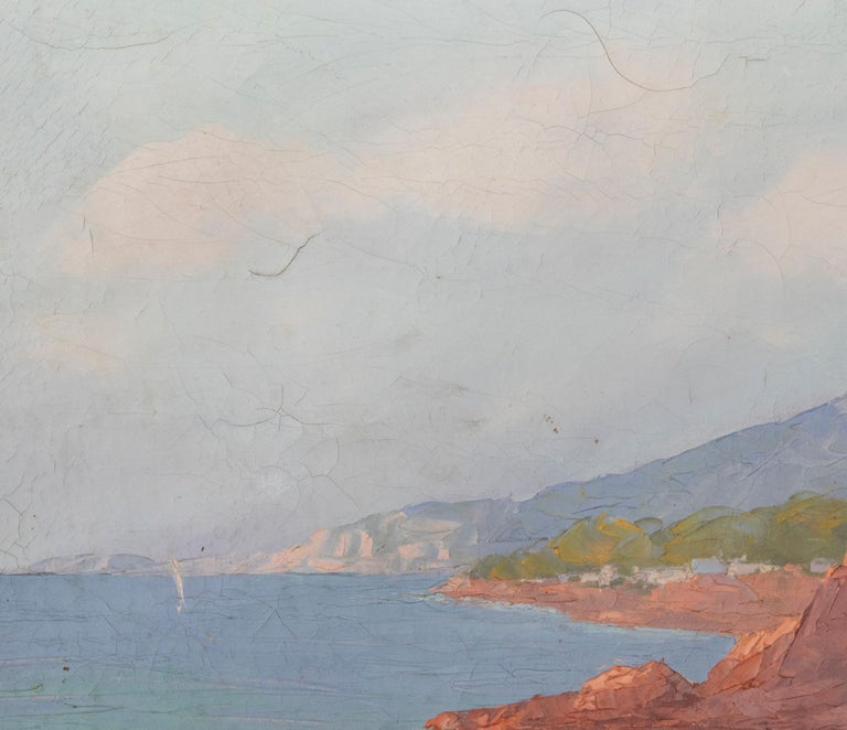 Early 20th Century Mediterranean Coastal Landscape Painting by Clément Boyer For Sale 3