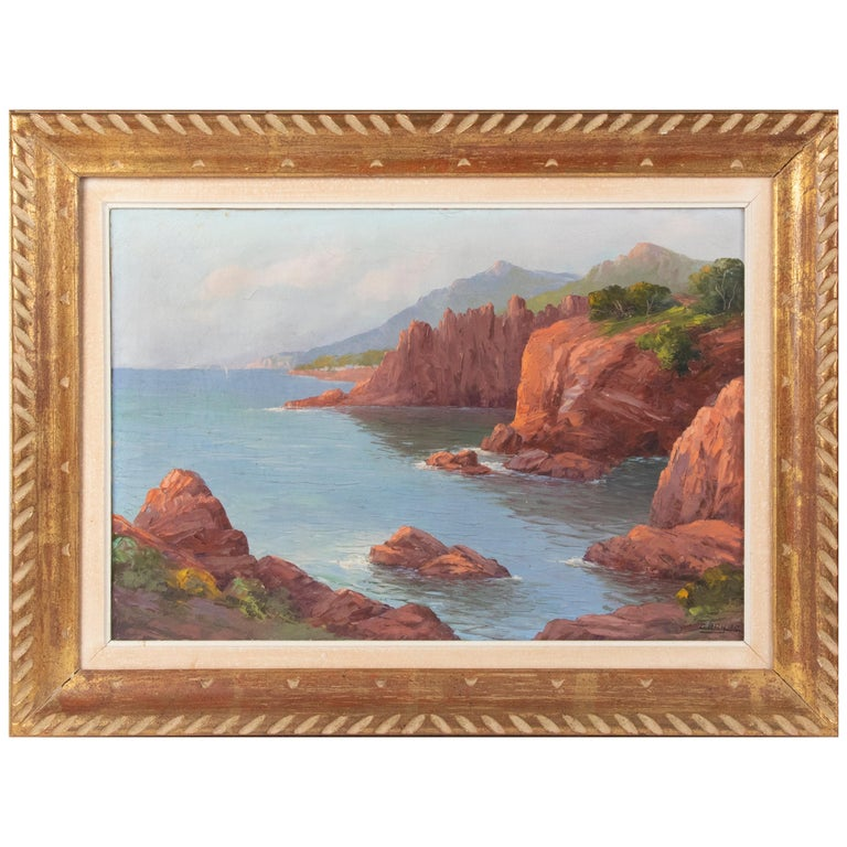 Early 20th Century Mediterranean Coastal Landscape Painting by Clément Boyer For Sale