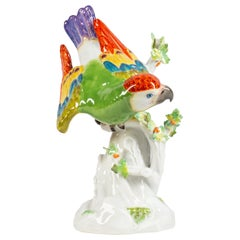 Early 20th Century Meissen Parrot Perched on Branch