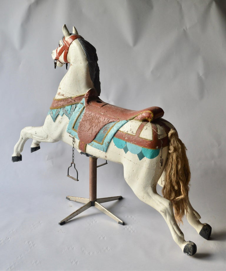 European Early 20th Century Merry Go Round Wooden Horse For Sale