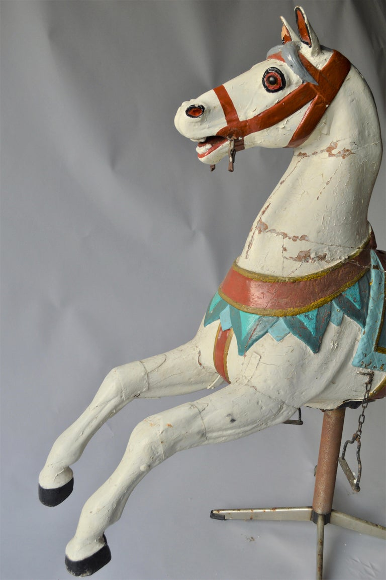 Painted Early 20th Century Merry Go Round Wooden Horse For Sale
