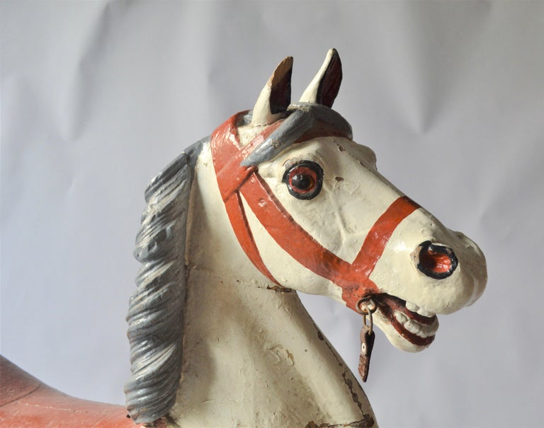 Early 20th Century Merry Go Round Wooden Horse In Good Condition For Sale In Copenhagen, Copenhagen