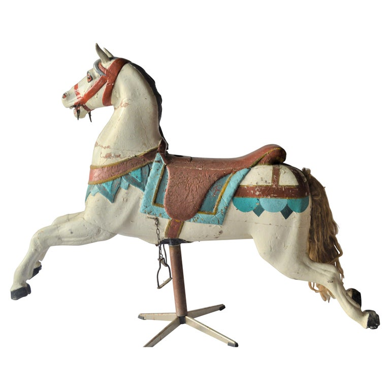 Early 20th Century Merry Go Round Wooden Horse For Sale