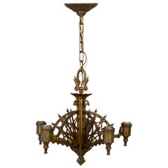 Early 20th Century Metalwork Radial Webs Chandelier