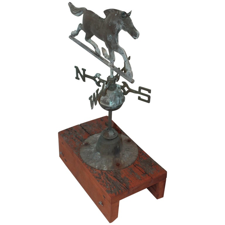 Vintage Wooden Weathervanes: Early 20th Century Miniature Horse Weather Vane And