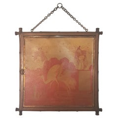 Early 20th Century Miroir Brot Faux Bamboo and Chinoiserie Tryptic Mirror
