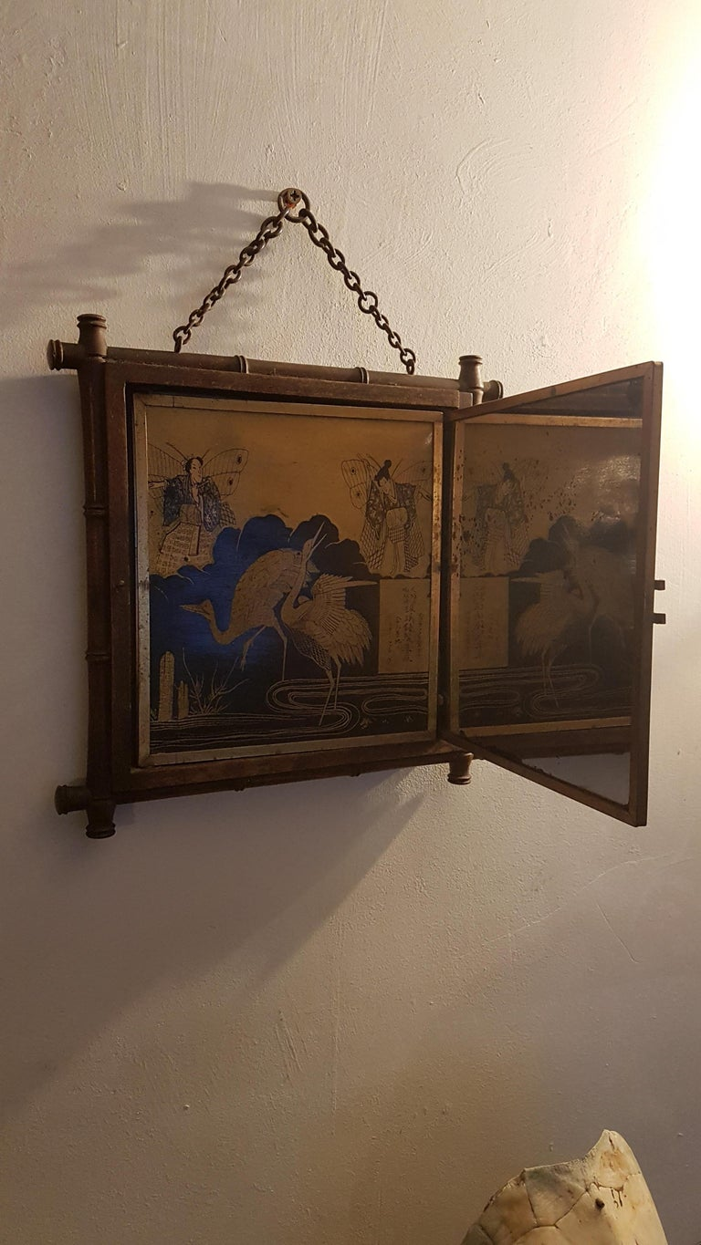 Aesthetic Movement Early 20th Century Miroir Brot Tryptic Faux Bamboo Mirror For Sale