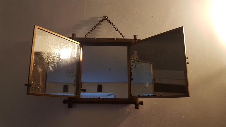 Early 20th Century Miroir Brot Tryptic Faux Bamboo Mirror In Distressed Condition For Sale In Bodicote, Oxfordshire