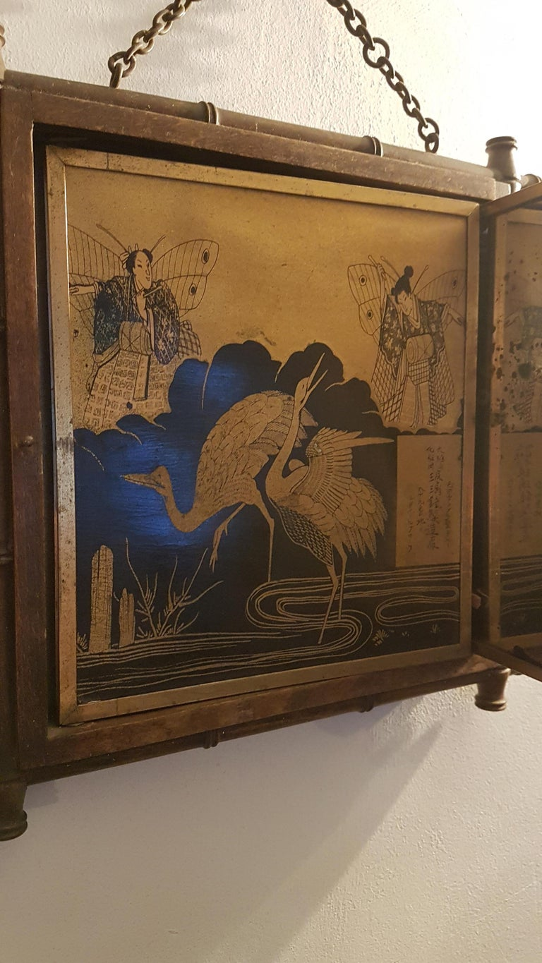 Early 20th Century Miroir Brot Tryptic Faux Bamboo Mirror For Sale 2