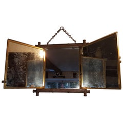 Early 20th Century Miroir Brot Tryptic Faux Bamboo Mirror