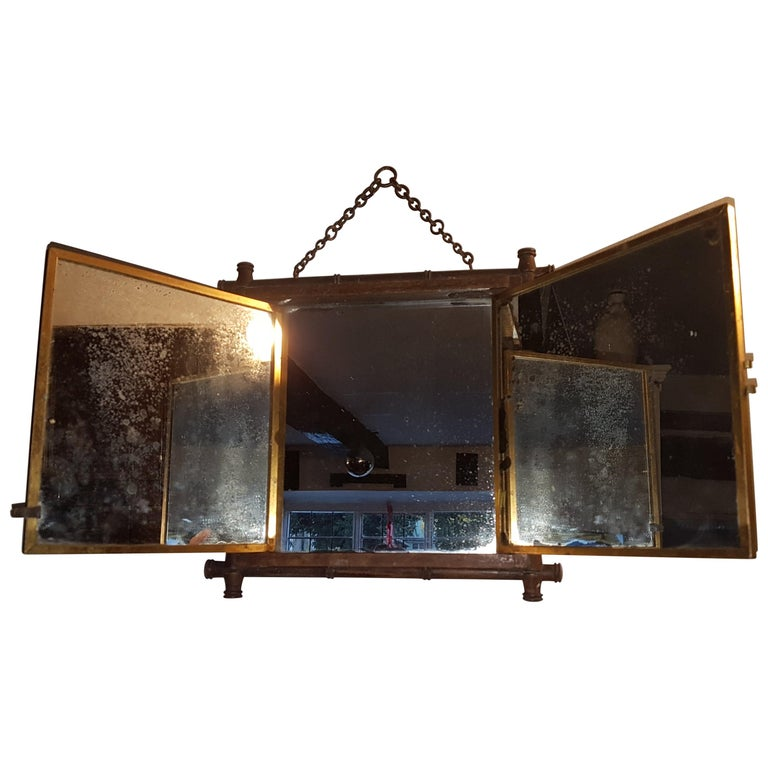 Early 20th Century Miroir Brot Tryptic Faux Bamboo Mirror For Sale