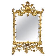 Early 20th Century Mirror in Brass Openwork Frame