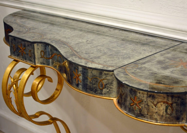 Early 20th Century Mirrored Console Table on Gilt Frame in Raymond Subes Manner 12