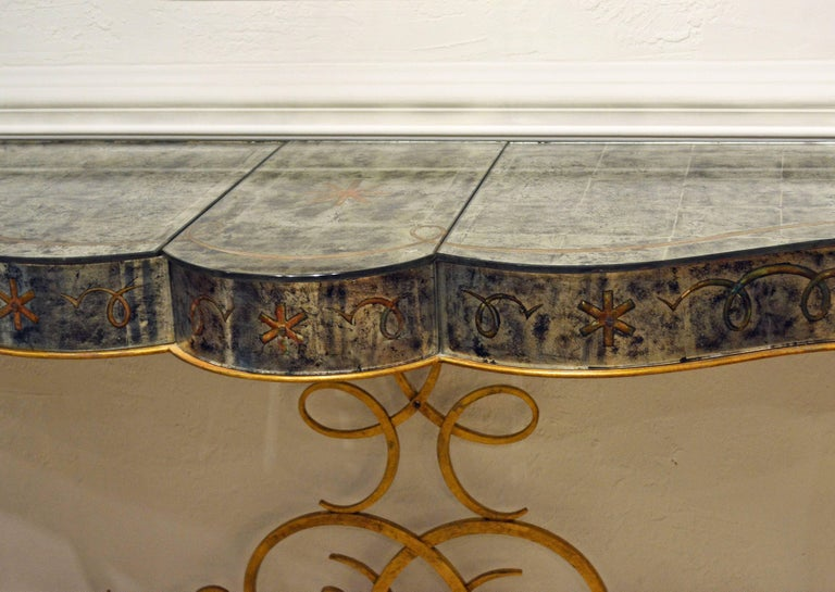 Early 20th Century Mirrored Console Table on Gilt Frame in Raymond Subes Manner 13