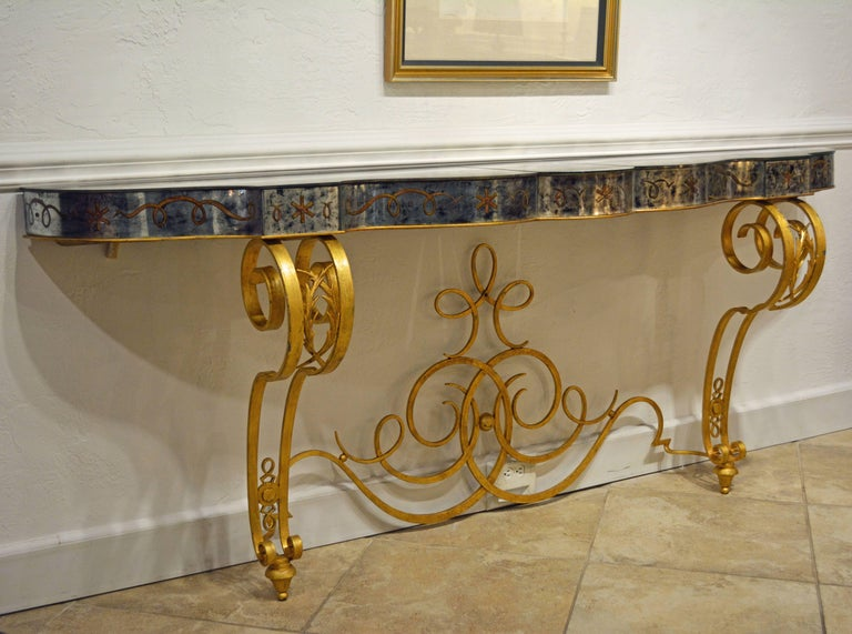 Art Deco Early 20th Century Mirrored Console Table on Gilt Frame in Raymond Subes Manner