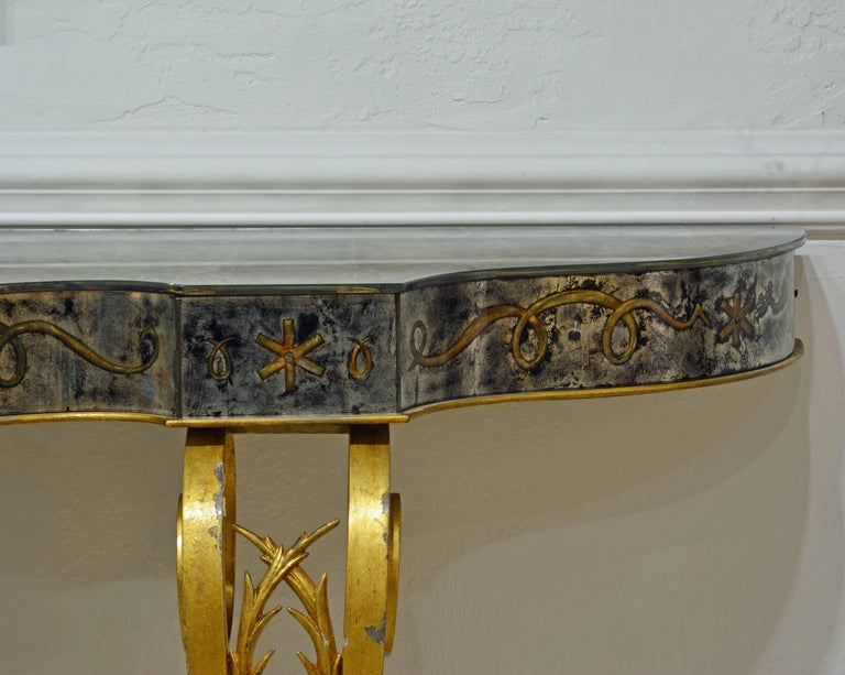 French Early 20th Century Mirrored Console Table on Gilt Frame in Raymond Subes Manner