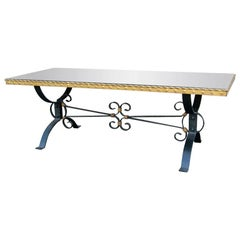 Early 20th Century Mirrored Top Iron and Gilt Coffee Table