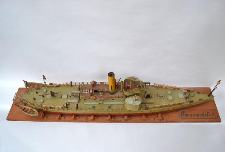 Early 20th Century Model of Torpedo Boat 'Donau Monitor' Handcrafted Sculpture For Sale 6