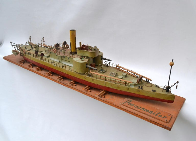 Early 20th Century Model of Torpedo Boat 'Donau Monitor' Handcrafted Sculpture For Sale 7