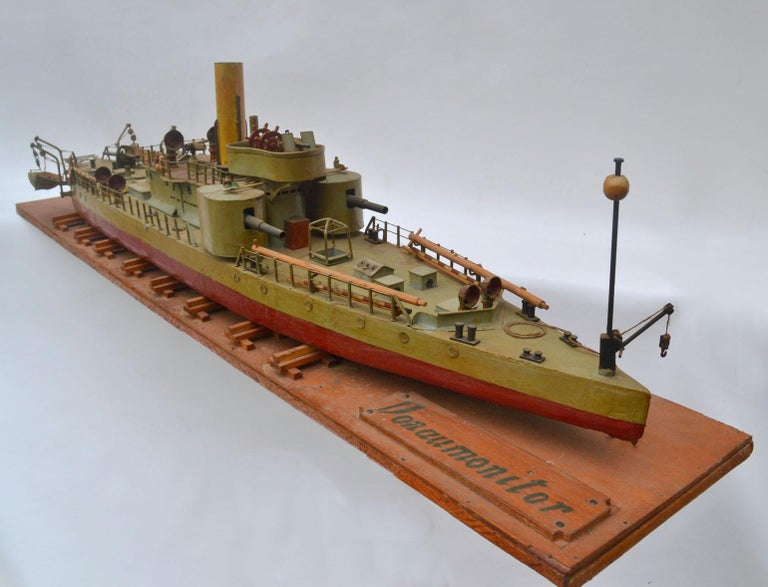 A fine shipyard model of an early Torpedo ship. This model of a Torpedo war boat monitored the Donau river around the late 19th century to the early 20th century. It was handcrafted early to mid-20th century from East Germany or Russia. This