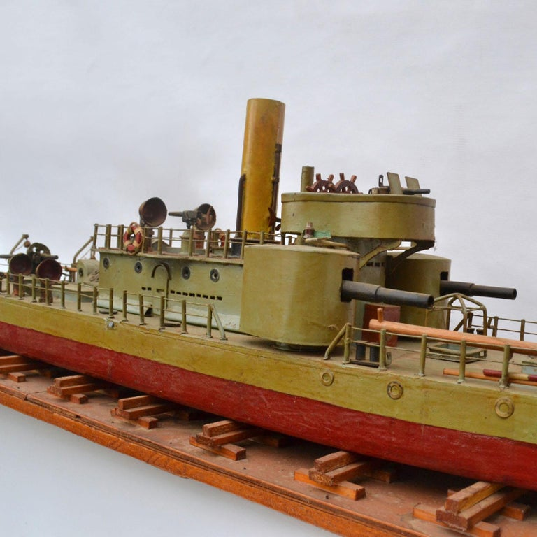 German Early 20th Century Model of Torpedo Boat 'Donau Monitor' Handcrafted Sculpture For Sale