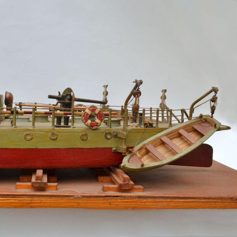 Early 20th Century Model of Torpedo Boat 'Donau Monitor' Handcrafted Sculpture In Good Condition For Sale In London, GB