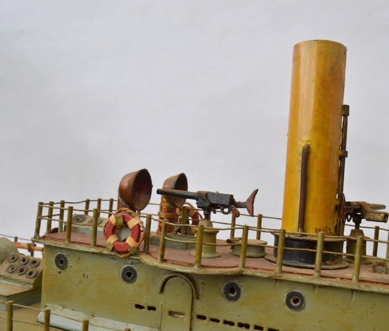 Wood Early 20th Century Model of Torpedo Boat 'Donau Monitor' Handcrafted Sculpture For Sale