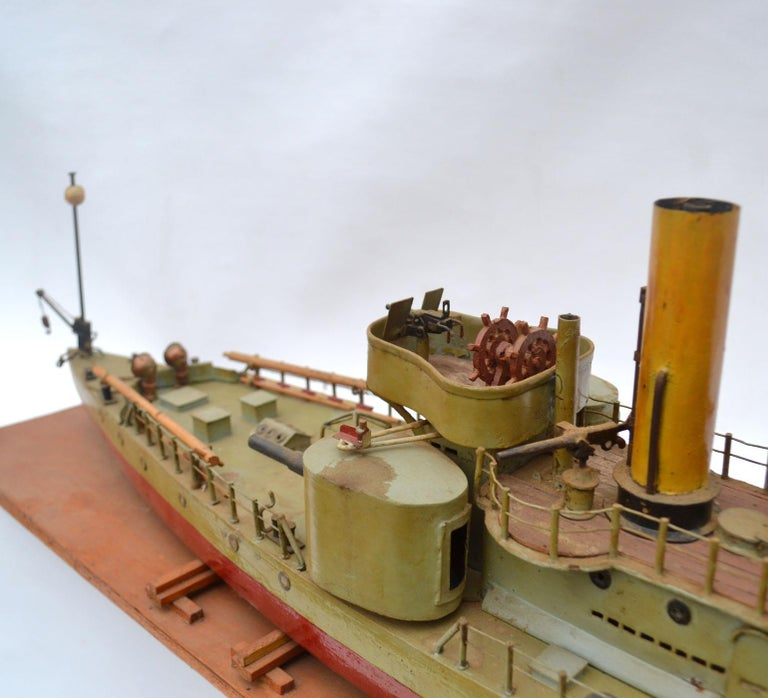 Early 20th Century Model of Torpedo Boat 'Donau Monitor' Handcrafted Sculpture For Sale 1