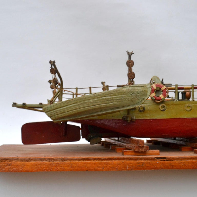 Early 20th Century Model of Torpedo Boat 'Donau Monitor' Handcrafted Sculpture For Sale 2