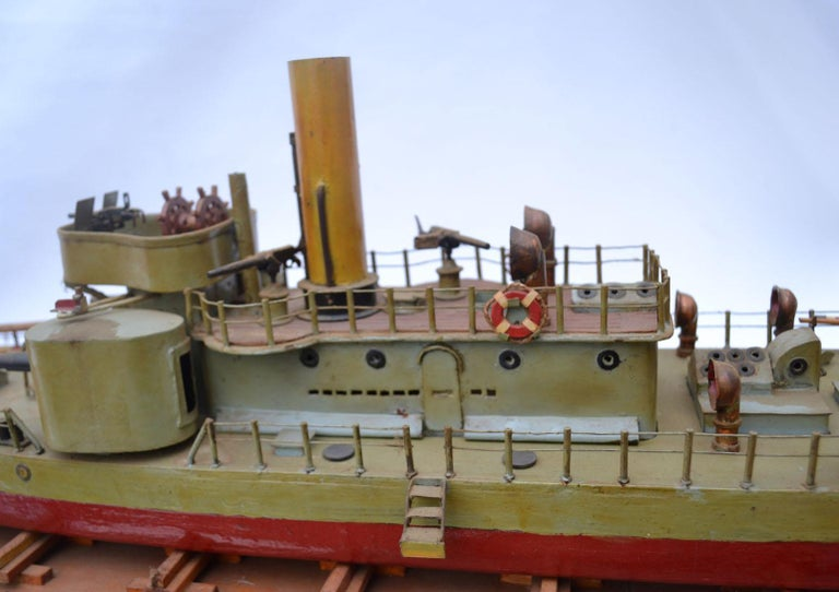 Early 20th Century Model of Torpedo Boat 'Donau Monitor' Handcrafted Sculpture For Sale 3