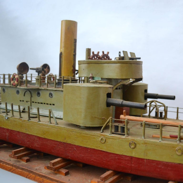 Early 20th Century Model of Torpedo Boat 'Donau Monitor' Handcrafted Sculpture For Sale 4