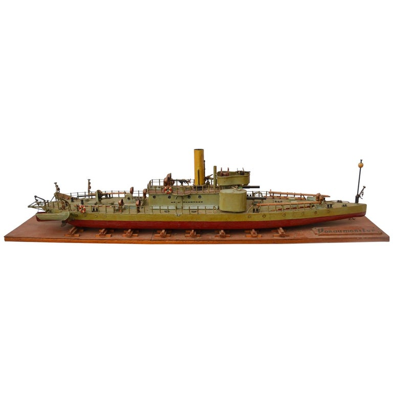 Early 20th Century Model of Torpedo Boat 'Donau Monitor' Handcrafted Sculpture For Sale