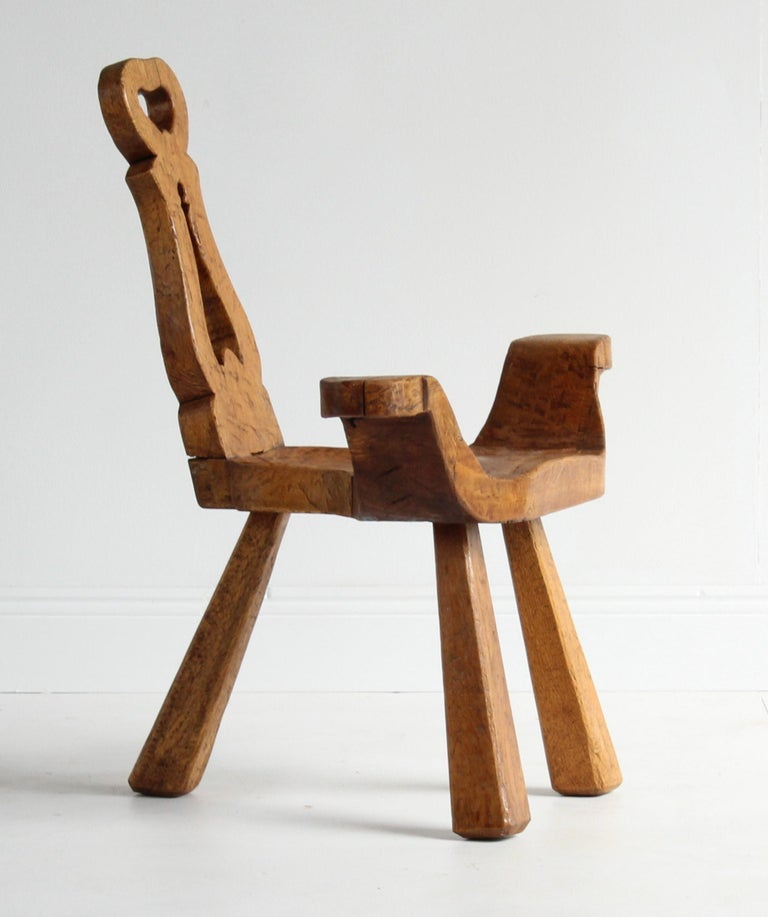 Early 20th Century Modernist Stool, Sculpted Solid Oak, Sweden In Fair Condition For Sale In West Palm Beach, FL
