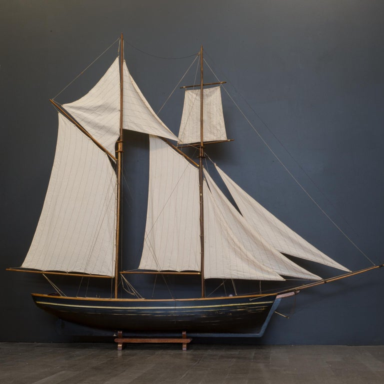 Early 20th Century Monumental Wooden Ship Model, circa 1940s For Sale 7
